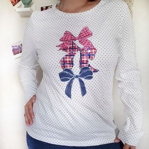 Talbots polka dot sequined bow print cotton top L